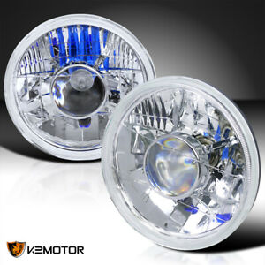 7 Projector Clear Lens Headlights Round W H4 Light Bulbs