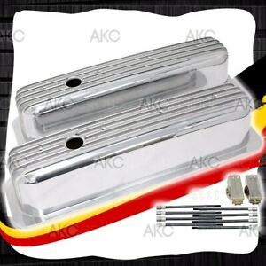 Polished Finned Center Bolt Tall Valve Covers For 87 97 Chevy Sb 5 0l 5 7l
