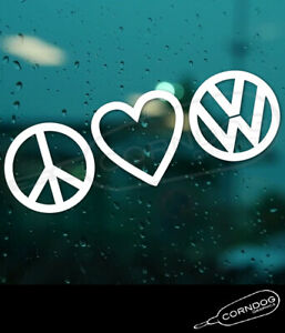 Peace Love Vw Vinyl Sticker Decal Vw Volkswagen Gti Jetta Golf Beetle Bug Bus