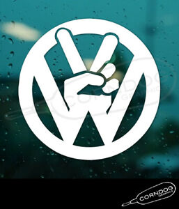 Vw Peace Sign Vinyl Sticker Decal Vw Volkswagen Gti Jetta Beetle Bug Bus Hippy