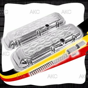 Flamed Short Aluminum Valve Covers For 65 95 Chevy Bb 396 427 454 502