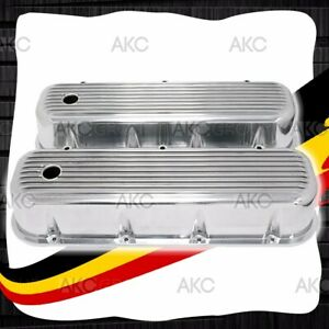 Finned Polished Aluminum Tall Valve Covers For 65 95 Chevy Bb 396 427 454 502