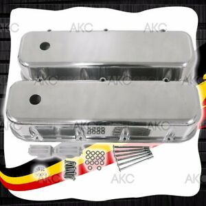 Smooth Polished Aluminum Tall Valve Covers For 65 95 Chevy Bb 396 427 454 502