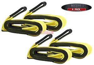 4 Pack 2 X 20 Heavy Duty Recovery Tow Strap 16000 Lb Break Strength Towing