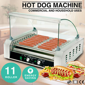 Commercial 30 Hot Dog 11 Roller Grill Stainless Steel Cooker Machine W cover Ce