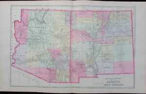 Arizona New Mexico States 1894 Large Detailed Antique Map Scarce Version