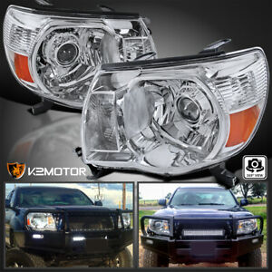 For 2005 2011 Toyota Tacoma Jdm Crystal Chrome Amber Projector Headlights Pair