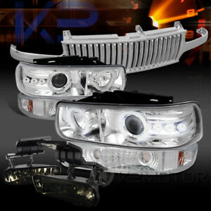 2000 2006 Tahoe Chrome Projector Headlights Vertical Grille Tint Fog Lamps
