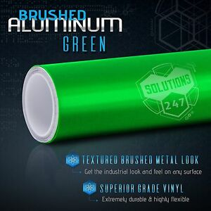 Green Brushed Aluminum Metallic Vinyl Film Wrap Sticker Decal Bubble Free Air