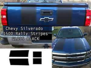Black Silverado 1500 2014 2015 1500 Rally Decals Stripe Kit Chevrolet Stickers