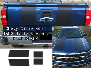 Flat Black Silverado 1500 2014 2015 1500 Rally Decals Stripe Chevrolet Stickers
