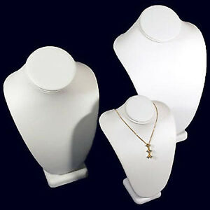 3 White Assorted Leather Necklace Jewelry Display Busts