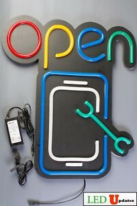 Ledupdates Phone Repair Led Open Sign 22x19 On off Switch Ul Neon Alternative