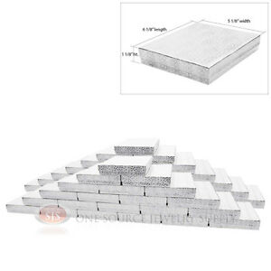 Large 50 Silver Foil Cotton Filled Jewelry Gift Boxes 6 1 8 X 5 1 8 X 1 1 8 h