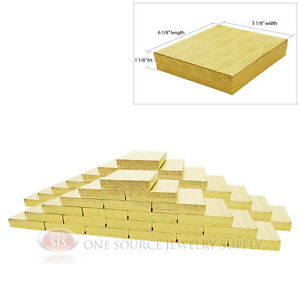Large 50 Gold Foil Cotton Filled Jewelry Gift Boxes 6 1 8 X 5 1 8 X 1 1 8 h