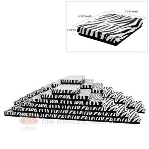 Large 50 Zebra Print Cotton Filled Jewelry Gift Boxes 6 1 8 X 5 1 8 X 1 1 8 h
