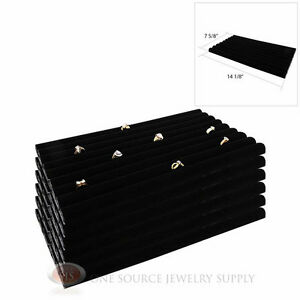 6 Black Velvet Ring Displays Continuous Slot Row Tray Jewelry Inserts