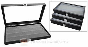 3 Glass Top Wooden Cases W Gray 24 Pair Earring Organizer Storage Inserts