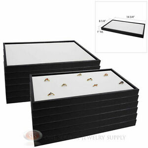 12 Black Plastic Stackable Trays W White 72 Ring Display Jewelry Inserts