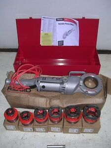 Ridgid 700 Power Pony Pipe Threader Six 12r Die Heads 1 2 2 Metal Case Manual
