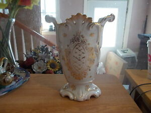 Antique Paris Porcelain 8 1 2 White Vase W Gold Accents