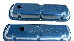 New Ford Mustang Blue Valve Covers 289 302 V8 Power By Ford Logo Pair
