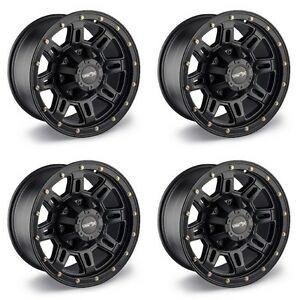 Set 4 17 Vision 400 Incline Black Wheels 17x9 8x6 5 12mm Chevy Dodge Gmc 8 Lug