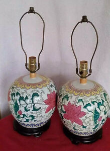Vintage Ginger Jar Table Lamps Famille Rose Chinese Porcelain Pair Floral Cooper