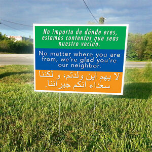 Neighbor Welcome Tolerance Message 2 Sided Yard Signs Free Shipping