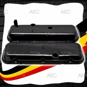 Black Steel Short Valve Covers W Dripper Rails For 65 72 Chevy Bb 396 427 454