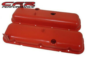 Orange Steel Short Style Valve Covers For 65 72 Chevy Big Block 396 427 454