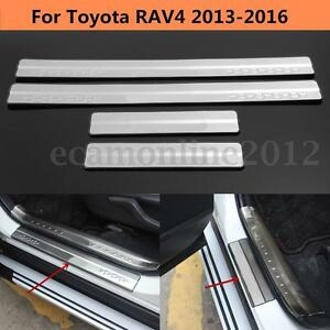 For Toyota Rav4 2013 2016 Silver Stainless Door Sill Scuff Plate Trim Protector