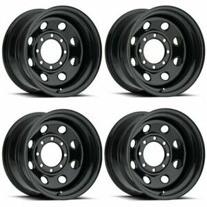 Set 4 17 Vision 85 Soft 8 Gloss Black Steel Wheels 17x9 6x5 5 12mm Chevy Gmc
