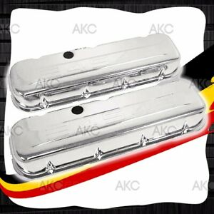 454 Logo Tall Chrome Steel Valve Covers 65 95 Chevy Big Block 396 427 454 502