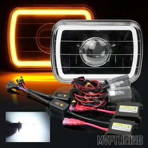 7 X6 3d Amber Smd Halo Black Housing Projector Headlights Conversion 6000k Hid