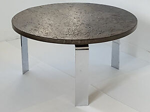 Peter Draenert Beautiful Coffee Table Round In Shale Chrome 1960 Vintage