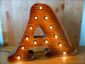 Lg Brown Vintage Style Light Up Marquee Letter A 24 Tall Novelty Rustic Sign