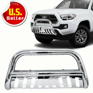 For 05 15 Toyota Tacoma Stainless Bull Bar Brush Push Front Bumper Grill Guard