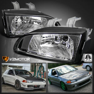 For 92 95 Honda Civic Eg Ej Black Replacement Headlights Head Lamps Left right