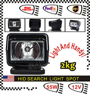 55w 12v Hid Xenon 360 Magnatic Remote Spot Search Light For Boat Hunting Black