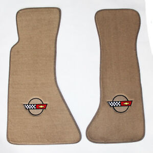 New Tan Floor Mats 1984 1996 Corvette With Embroidered Circle Official Gm Logo