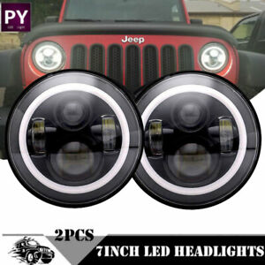 7inch Black Led Headlights Upgrade Hi Low Beam Round Kit For Vw Beetle Classic