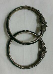Pair Antique India Mughal Indian Silver Bracelet Bangle 59 Gr