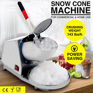 Commercial Snow Cone Machine Electric Ice Crusher Shaved Ice Maker 143lbs h Home