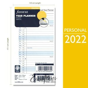Filofax Personal Vertical Year Planner Diary Refill Insert 2022 2268402