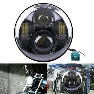 5 75 Led Motorcycle Headlight Daymaker Projector Head Lamp Black For Harley