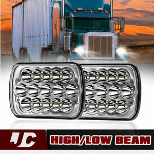 Universal Pair 7x6 led Sealed Beam Headlights Lamp Projector H4 Bulbs Lh Rh