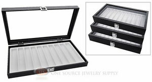 3 Glass Top Wooden Cases W White 10 Slot Organizer Inserts Jewelry Displays
