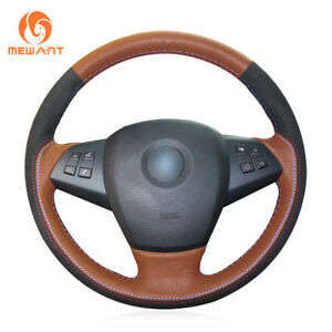 Orange Leather Black Suede Steering Wheel Cover Wrap For Bmw E70 X5 2008 2013