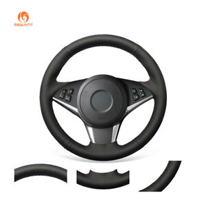 Black Artificial Pu Leather Steering Wheel Cover For Bmw E60 530d 545i 550i E61